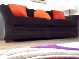 Three sitter sofa in brown soft material