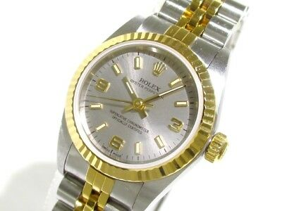 Auth ROLEX Oyster Perpetual 76193 Silver 18K YG Women