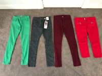 Bundle size 12 3 skinny jeans, 1 cropped jeans (green, leopard print, red, Burgundy)