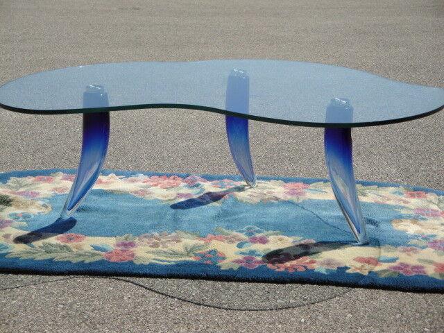 Italian Freeform Glass Coffee Table * Blown Glass Legs