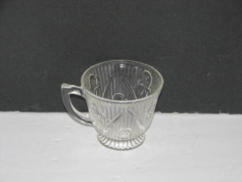 Vintage Clear Depression Glass Tea Cup Iris and Herringbone Pattern