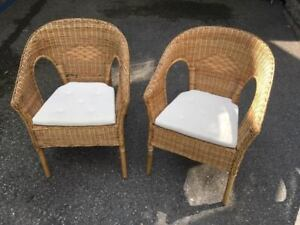 Ikea AGEN Wicker Chairs (x2) with chair pads