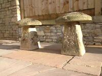 Staddle stones x 2
