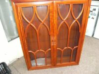 Hardwood bookcase display cabinet, top quality, £29.