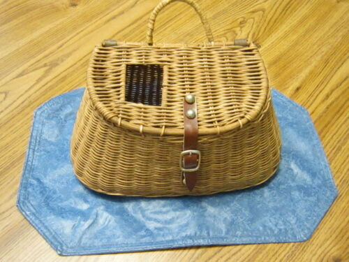 VINTAGE WICKER Fishing Creel, Wicker Handle, Leather Strap & Buckle