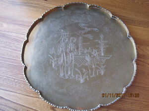 "Vtg Chinese Etched Round Brass Serving Tray 14"" Mandarin Figures"