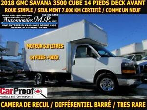 2018 Gmc Savana 3500 CUBE 14 PIEDS DECK 7.000 KM ROUE SIMPLE MOT