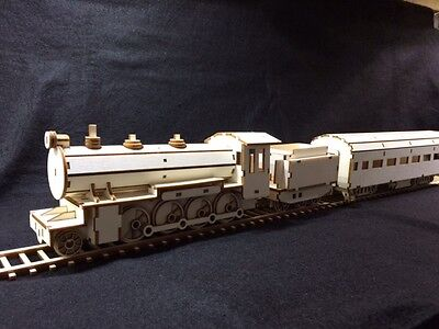 Laser Cut Wooden Steam Train and Passenger Carriage 3D Model/Puzzle Kit