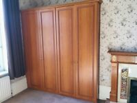 Wooden wardrobe set - 2 with solid interior and great hanf=ging / shelving space