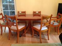 Yew Wood Dining Table and 6 Chairs for Sale