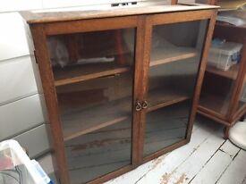Solid oak vintage glazed book case / display cabinet