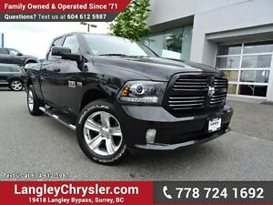2016 RAM 1500 Sport ACCIDENT FREE w/ 4X4, TOW PACKAGE & TONNE...