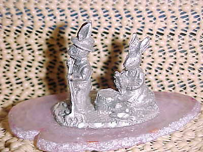 PEWTER RABBITS ON A GEOD, 2 3/4 LONG, 2 TALL   I SHIP DAILY