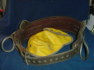 Vintage W.m. Bashlin Co. Linemans Pole Or Tree Climbing Belt 2 D Rings Bag D24