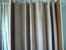 """pair lined beige suede effect curtains with ring tops each 48"""" wide x 72"""" long southbourne"""