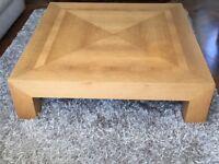 Contemporary Design Large Oak Coffee Table. 120cm square - 32.3cm high.