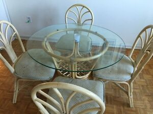 Wicker glass top dining table set with 4 chairs