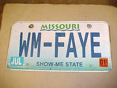 2001 Missouri Vanity license plate William Faye MO plates Tag Woman Marine Fay ?