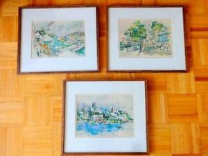 CECILE R JOHNSON 3 LITHO PRINTS - FRAMED  MID-CENTURY WATERCOLOR