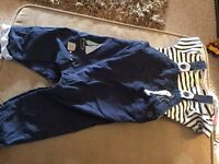 Boys next navy dungarees with vest top 9-12 months