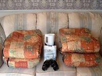 Two luxury sleeping bags, Lamont 162 tent, travel iron, kettle, binoculars £20 the lot
