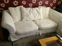 White Fabric 3 Seater Sofa