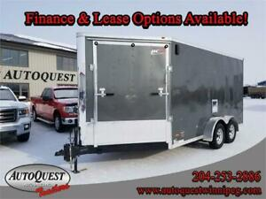 """RC 7' x 19' x 84"""" V-Nose Drive in/out Cargo Trailer - 7 000 lbs"""