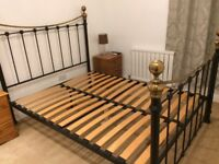 King Size Bed Frame. Iron. Black and Gold. Very Sturdy.