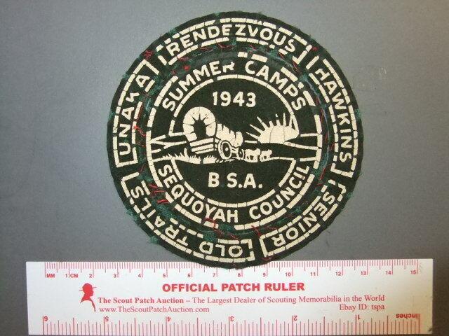 Boy Scout Sequoyah Summer Camps 1943 compostion patch TN 9785X