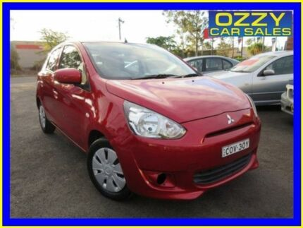 2013 Mitsubishi Mirage LA ES Maroon 5 Speed Manual Hatchback Minto Campbelltown Area Preview