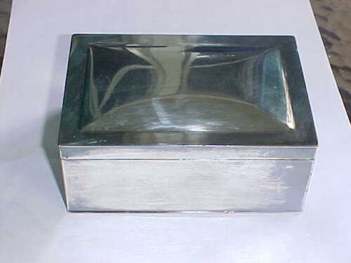 L.B.S. Co Lawrence B. Smith Silverplate CIGARETTE BOX WOOD LINED HALLMARKS