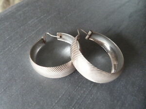 Italian Silver 9.25 Large Hoop Earrings