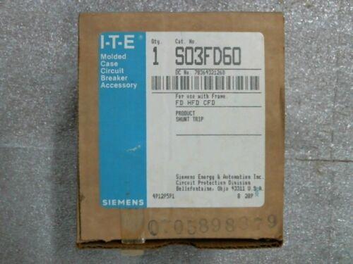 Siemens S03FD60 Circuit Breaker Shunt Trip 240V .165A 60Hz - 60 day warranty