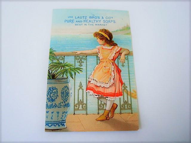 Victorian Trade Card Girl Balcony Sea Lautz & Co. Napkin Soap Buffalo N.Y.