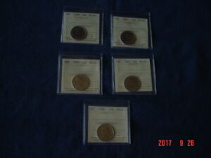 LOT OF 5 CANADA 25 CENT COINS