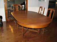 Oak Antique Dining table with 6 chairs and side board