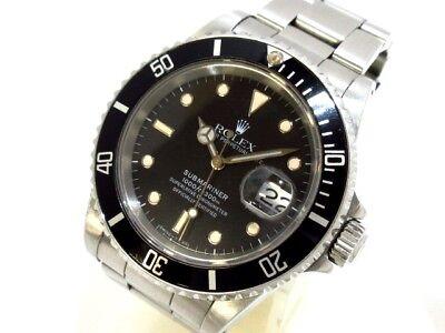 Auth ROLEX SubmarinerThe Date 16610 Black Silver R34252 Men