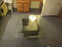 table se   salon  gros cube  super laqué noir vitre  epaisse