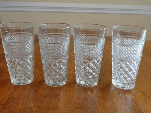 ANCHOR HOCKING WEXFORD FLAT ICED TEA GLASSES LOT OF 4