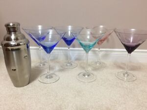 Waterford Marquis 6 crystal Polka Dot Martini glasses and shaker