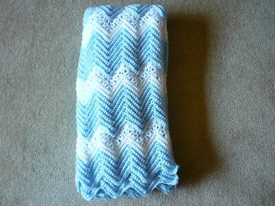 New Hand Crocheted Baby Afghan Blanket Blue and White Lacy Ripple 38 x 43