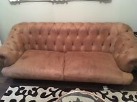 Large Brown Leather Chesterfield Style Leather Sofa from Loaf