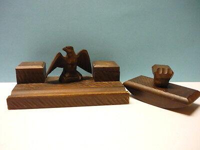 Antike Schreibtischgarnitur-Lindenholz-2 Teile mit Adler