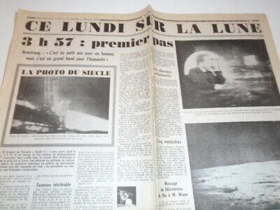 3H 57 PREMIER PAS  CE LUNDI SUR LA LUNE - TIRE DU JOURNAL LE SOIR DU 20-07 -1969