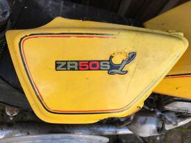 Suzuki ZR 50 SL yellow motorbike for restoration