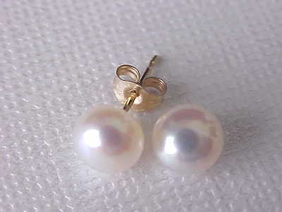 SOLID 14K YELLOW GOLD 6.5MM AAA GENUINE WHITE PEARL STUD EARRINGS