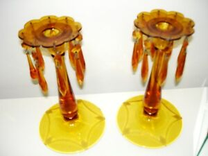 1940s AMBER GLASS Czechoslovakian ETCHED CANDLE HOLDERS LUSTRES Cambridge Kitchener Area image 2