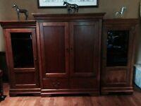 Hardwood Entertainment Cabinet. plus TV