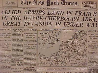 Vintage Newspaper Headline World War 2 Nazi France Us D Day Battle Invasion Wwii