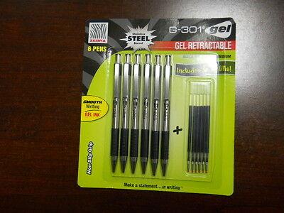Zebra G-301 Gel Stainless Steel 6 Pack W 6 Refill Cartridges Brand New Pens